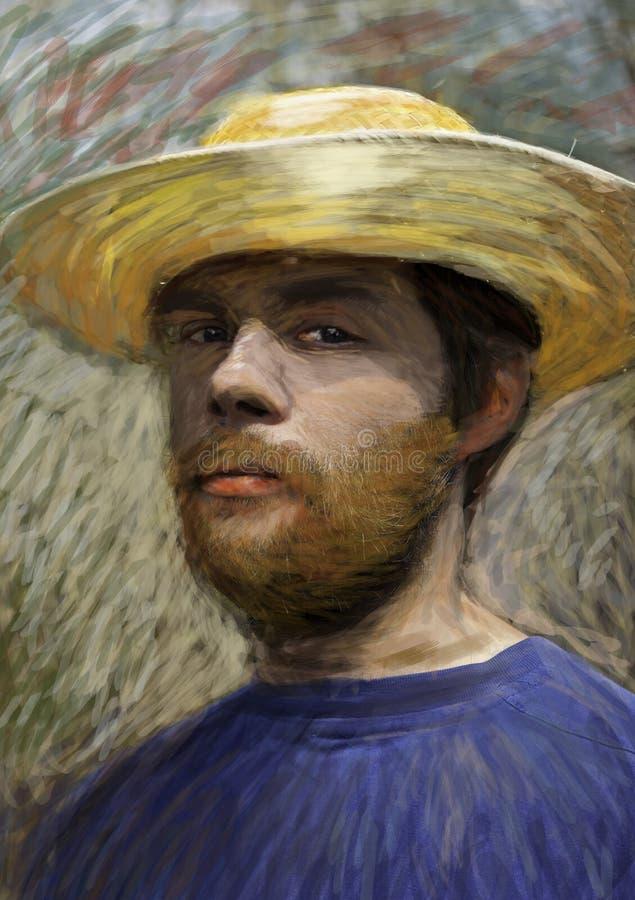Retrato do homem novo com chapéu de palha ilustração stock