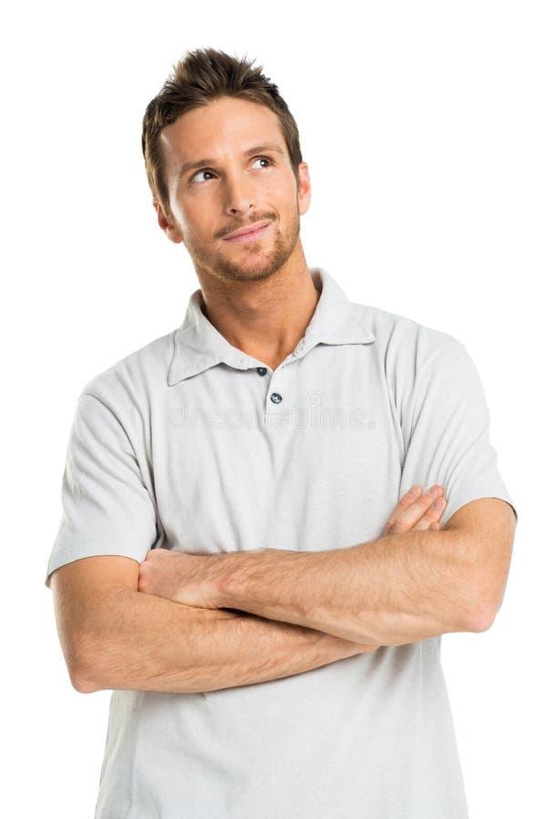 Retrato do homem novo pensativo imagem de stock