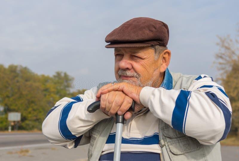 Retrato do homem superior com vara de passeio imagens de stock