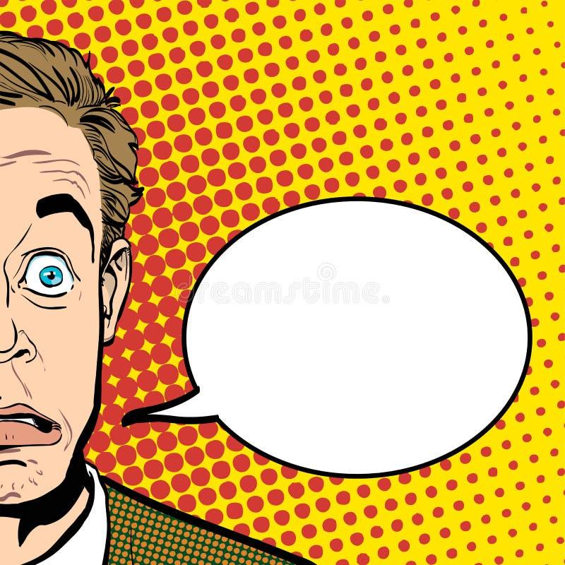 Retrato do homem surpreendido Homem de negócios surpreendido Homem surpreendido Ideia do conceito da propaganda e do promo Pop ar ilustração royalty free