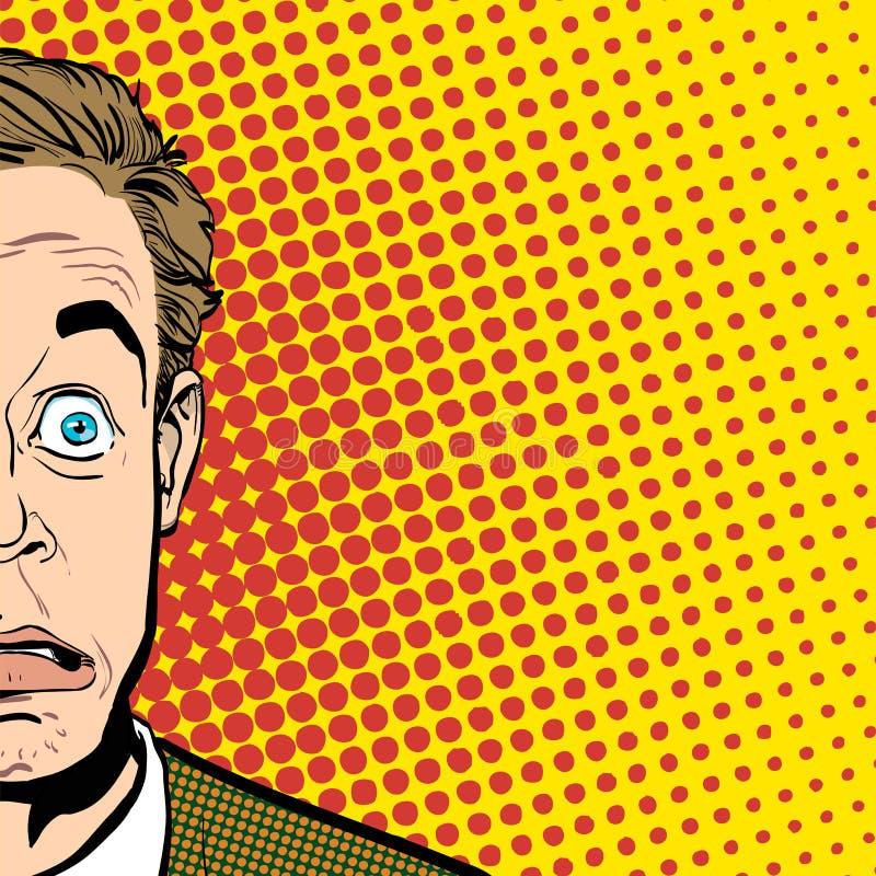 Retrato do homem surpreendido Homem de negócios surpreendido Homem surpreendido Ideia do conceito da propaganda e do promo Pop ar ilustração stock