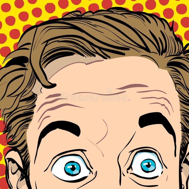 Retrato do homem surpreendido Homem de negócios surpreendido Homem surpreendido Ideia do conceito da propaganda e do promo Pop ar ilustração do vetor