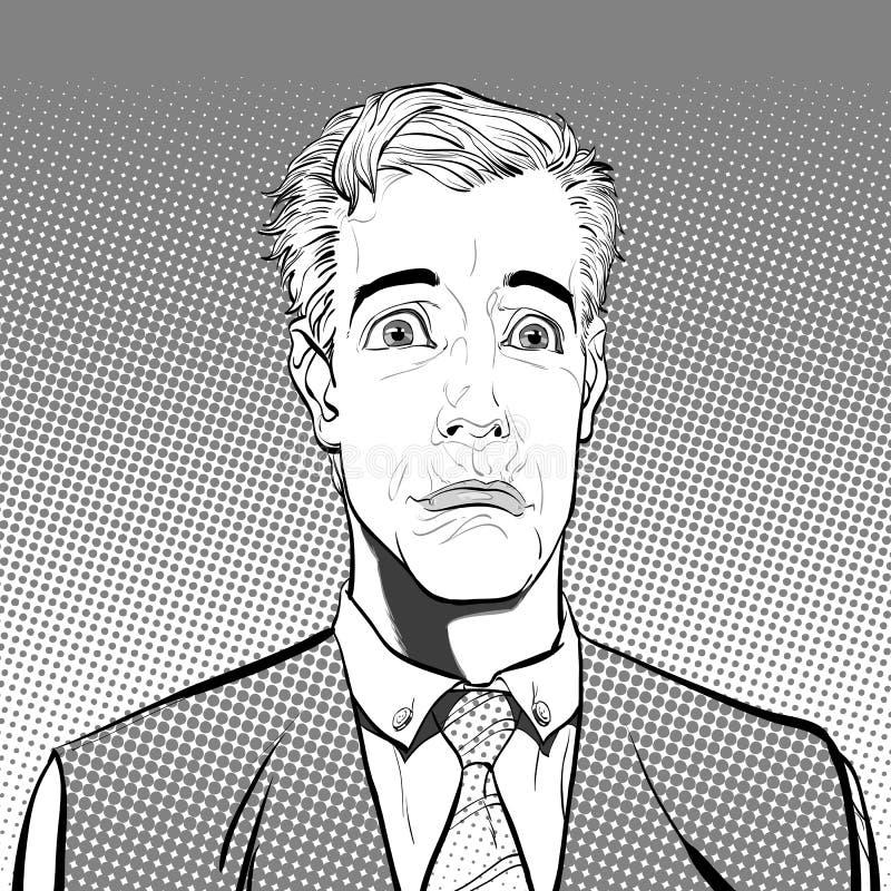 Retrato do homem triste sadness Homem surpreendido Ideia do conceito da propaganda e do promo Ilustração retro do estilo do pop a ilustração royalty free