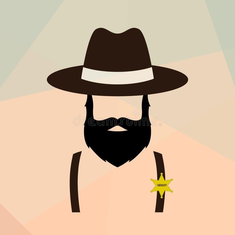 Retrato do homem do xerife Logotipo retro do polícia ilustração do vetor