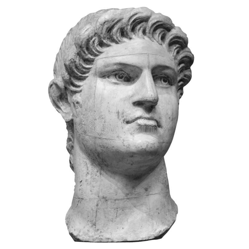 Retrato do imperador romano Nero Claudius Caesar Augustus Germanicus isolado no fundo branco imagem de stock royalty free