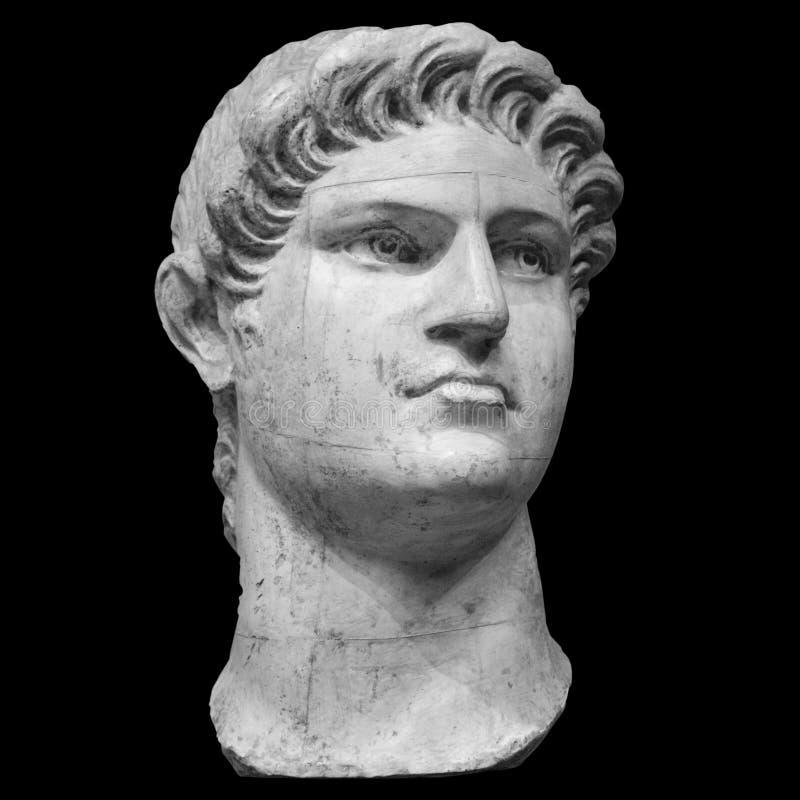 Retrato do imperador romano Nero Claudius Caesar Augustus Germanicus isolado no fundo branco imagem de stock
