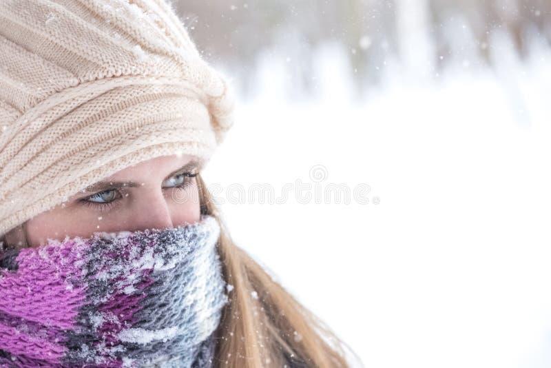 Retrato do inverno da mulher loura bonita com o lenço sobre o nariz e a boca a proteger da geada imagem de stock
