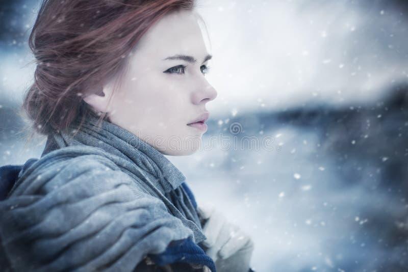 Retrato do inverno da mulher nova fotos de stock