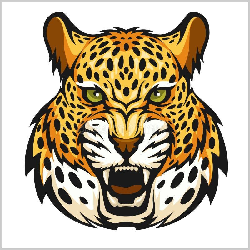 Retrato do jaguar do vetor Cabeça dos jaguares no fundo branco ilustração stock