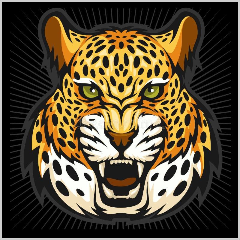 Retrato do jaguar do vetor Cabeça dos jaguares no fundo preto ilustração stock