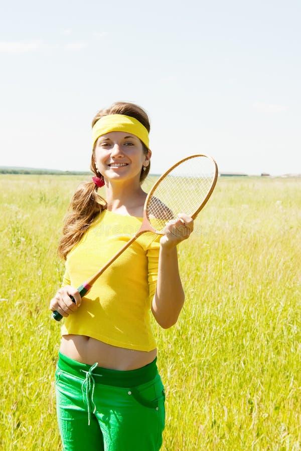 Retrato do jogador adolescente do badminton fotografia de stock royalty free