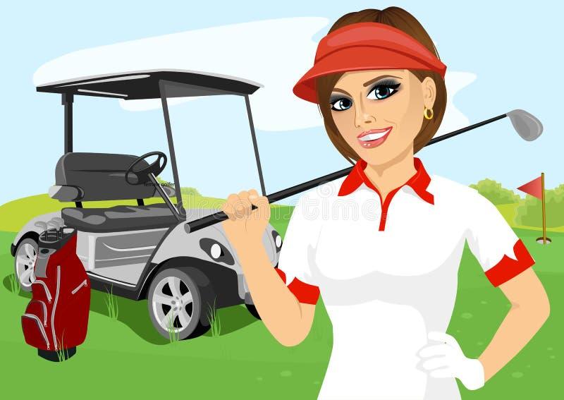 Retrato do jogador de golfe consideravelmente fêmea com clube de golfe ilustração do vetor