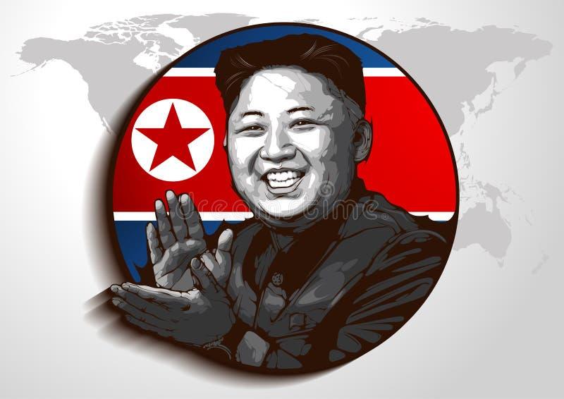 Retrato do Jong-un de Kim ilustração do vetor