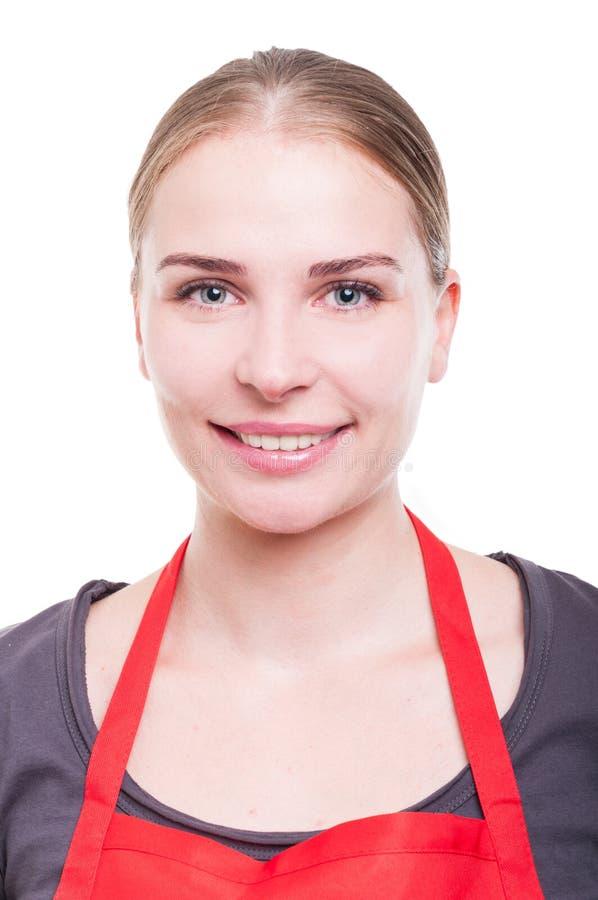 Retrato do líquido de limpeza de sorriso do trabalhador imagens de stock