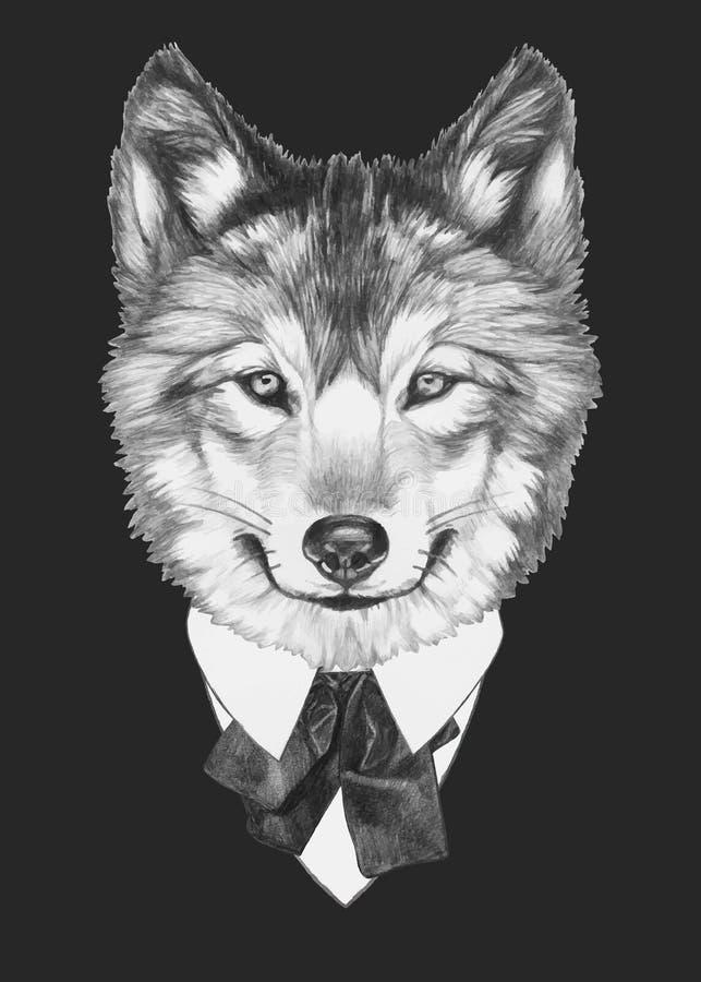 Retrato do lobo no terno ilustração royalty free