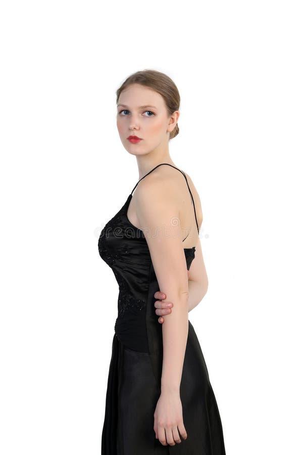 Retrato do louro bonito no vestido preto imagem de stock royalty free
