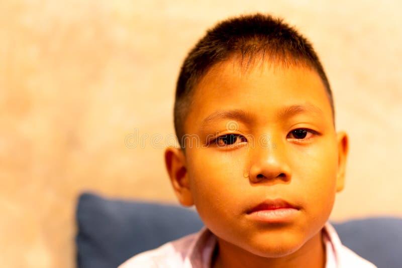Retrato do menino asiático que grita com o rasgo em sua cara foto de stock