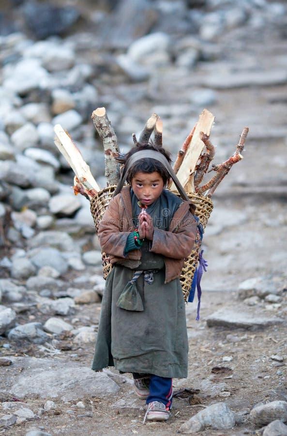 Retrato do menino nepalês com cesta fotografia de stock royalty free