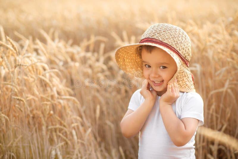 Retrato do menino pequeno feliz da criança na posição do chapéu de palha no campo do trigo ou do centeio entre pontos dourados Cr fotografia de stock