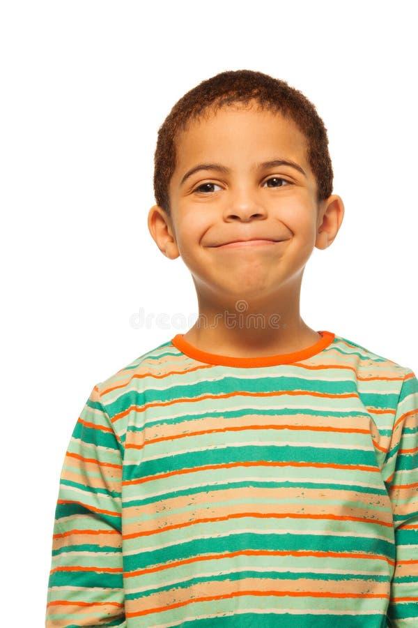 Retrato do menino preto feliz foto de stock royalty free