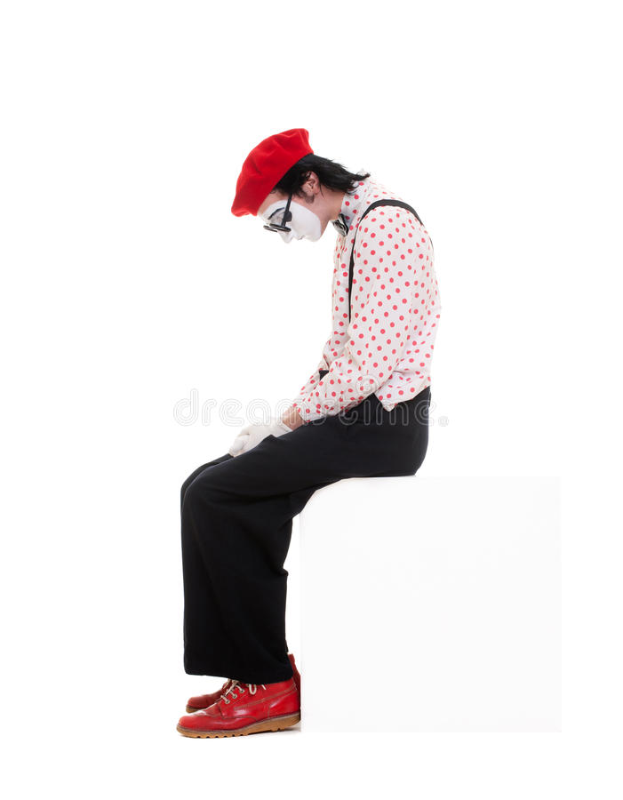 Retrato do mime triste imagens de stock royalty free