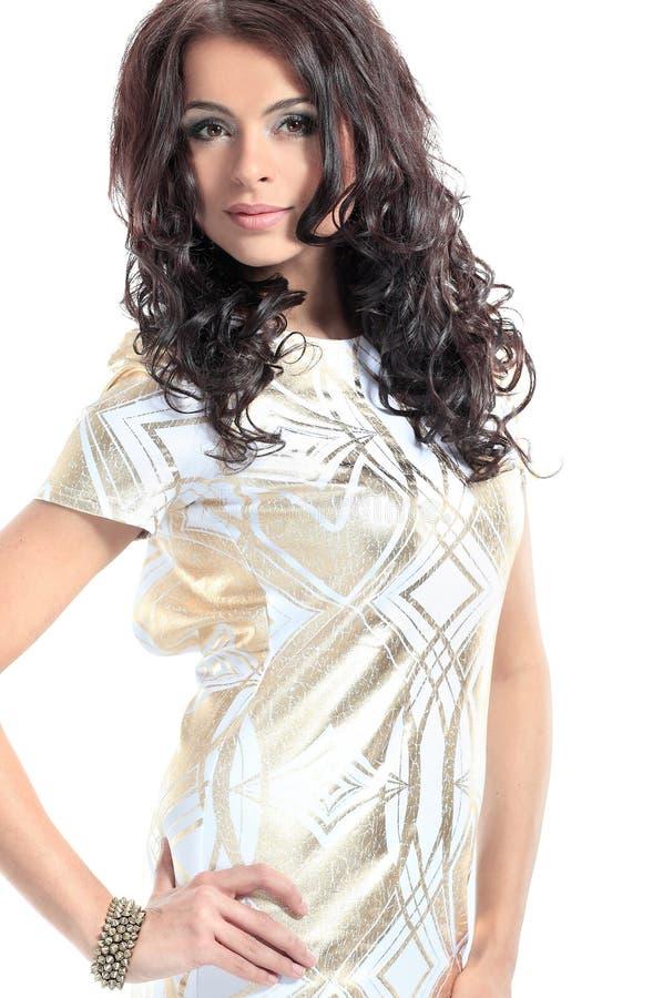 Retrato do modelo fêmea bonito no fundo branco imagem de stock royalty free