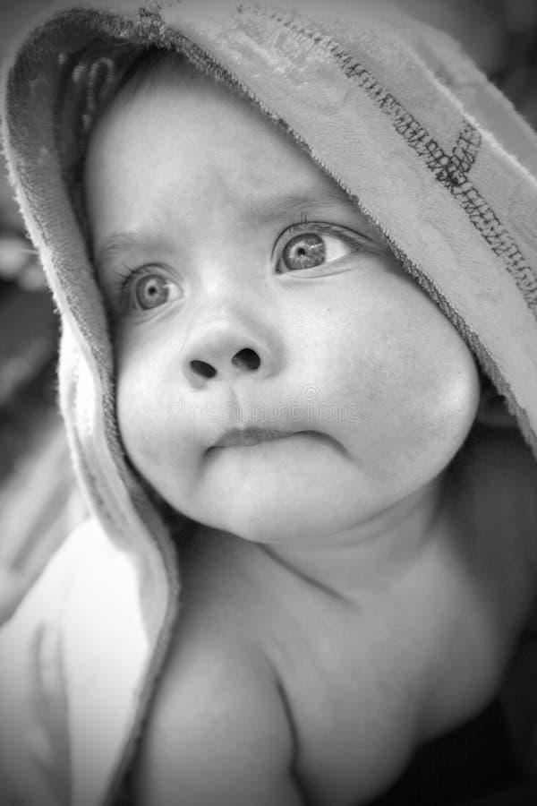 Retrato do monochrome do bebê imagens de stock
