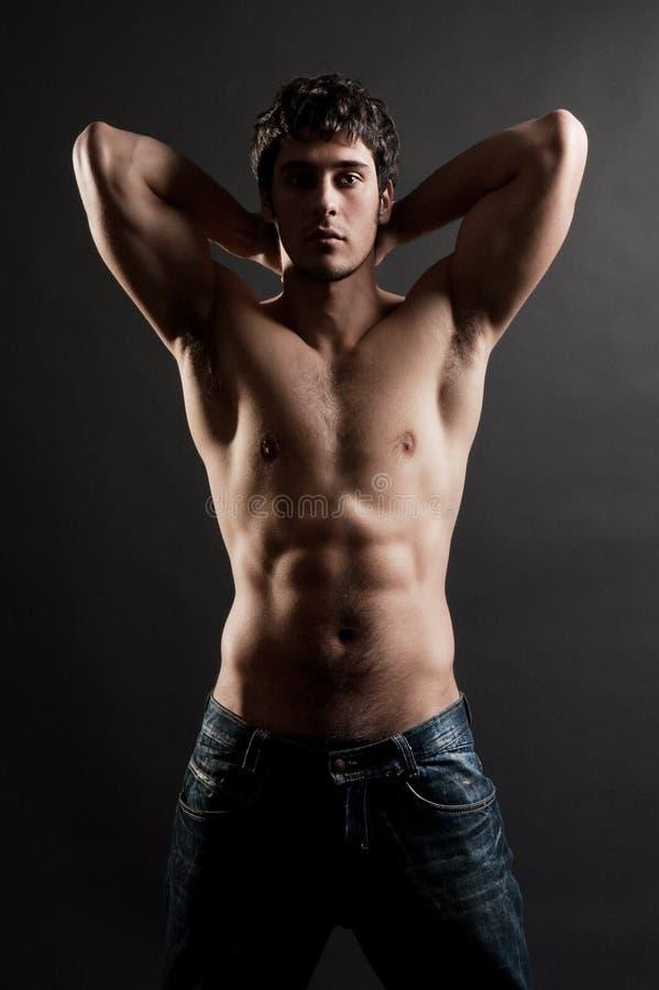 Retrato do muscleman considerável imagens de stock