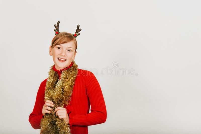 Retrato do Natal da menina bonito imagens de stock