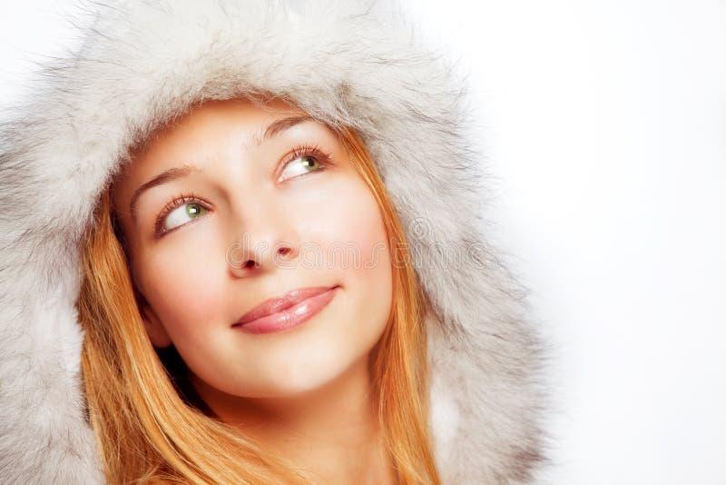 Retrato do Natal da mulher pensativa feliz imagem de stock royalty free