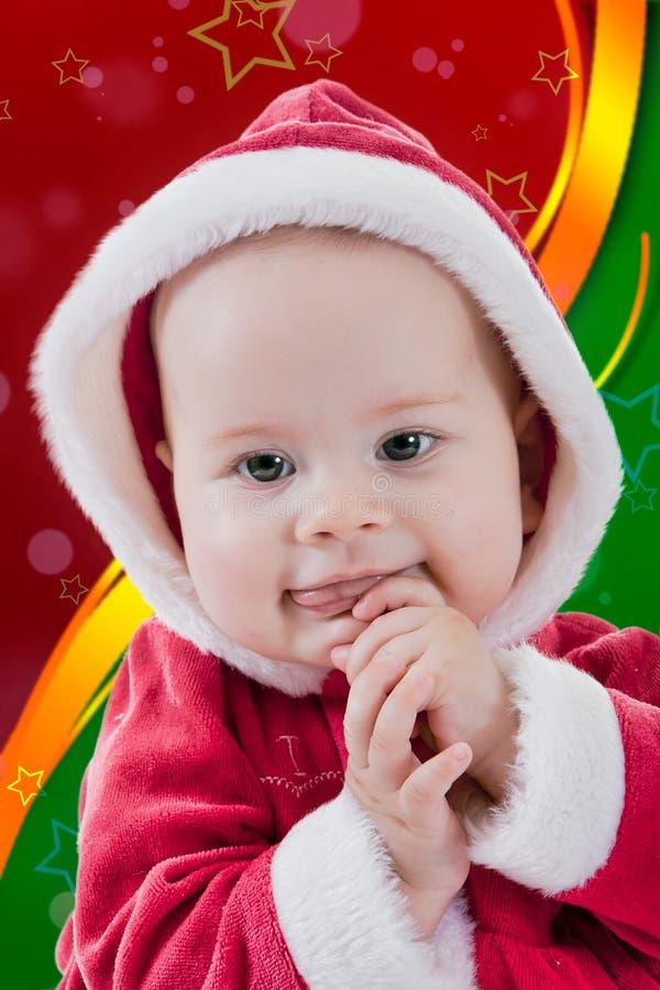 Retrato do Natal de um bebé imagem de stock