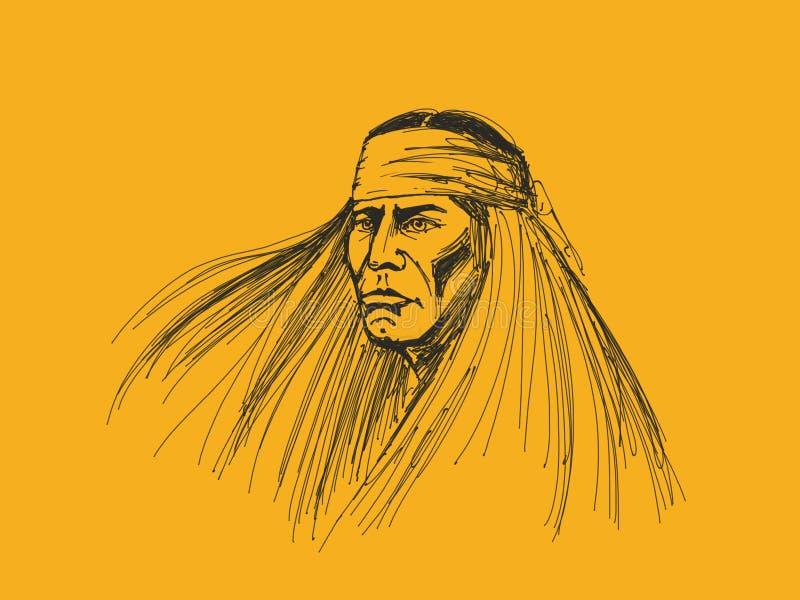 Retrato do nativo americano ilustração do vetor