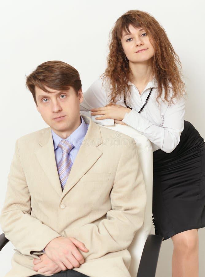 Retrato do negócio do homem e da mulher bonita fotografia de stock