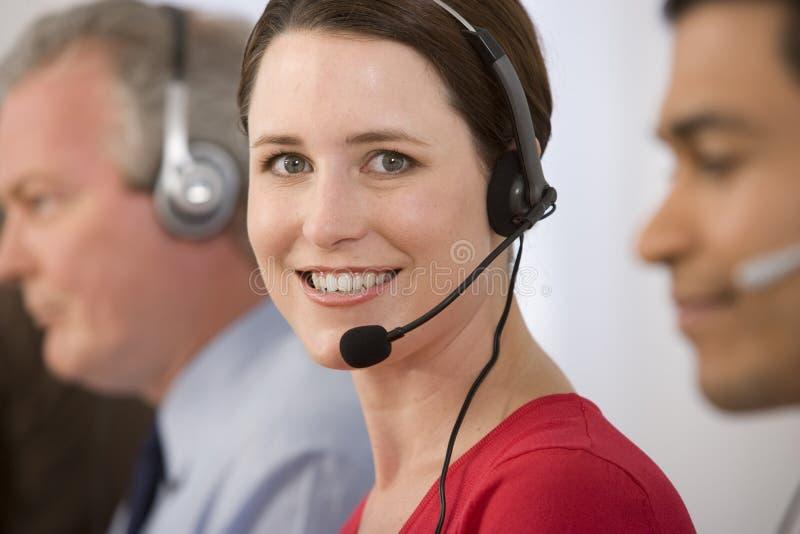 Retrato do operador de telefone. imagem de stock