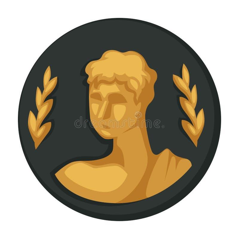 Retrato do ouro de Julius Caesar e objeto isolado ramos de oliveira ilustração stock