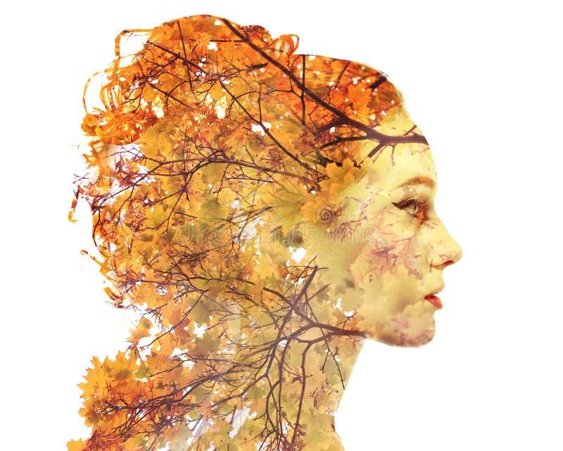 Retrato do outono da exposição dobro fotos de stock