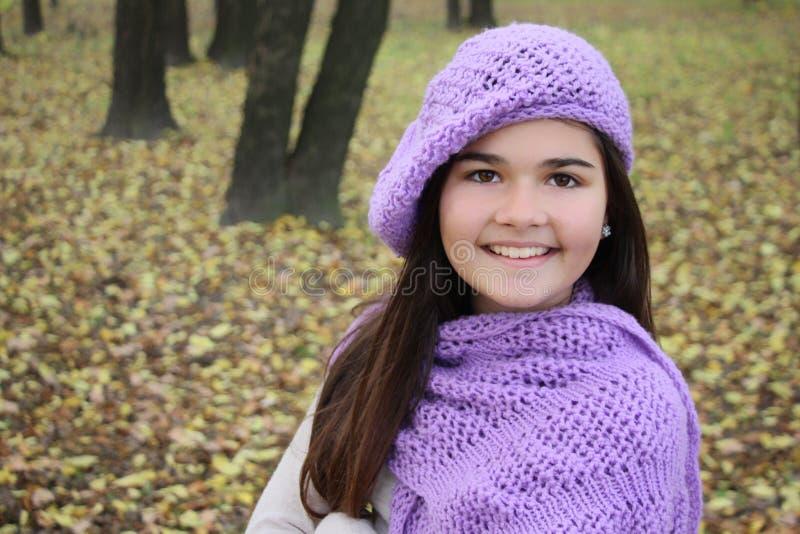 Retrato do outono da menina de sorriso bonito imagem de stock
