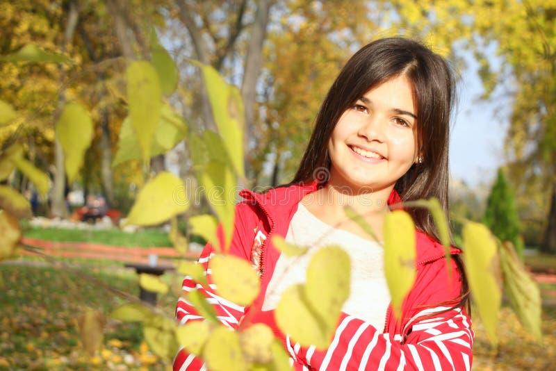 Retrato do outono da menina de sorriso bonito fotos de stock royalty free