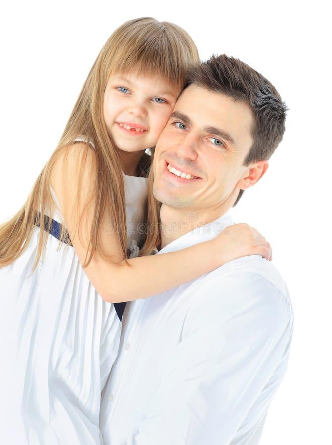 Retrato do pai e da filha felizes imagens de stock royalty free