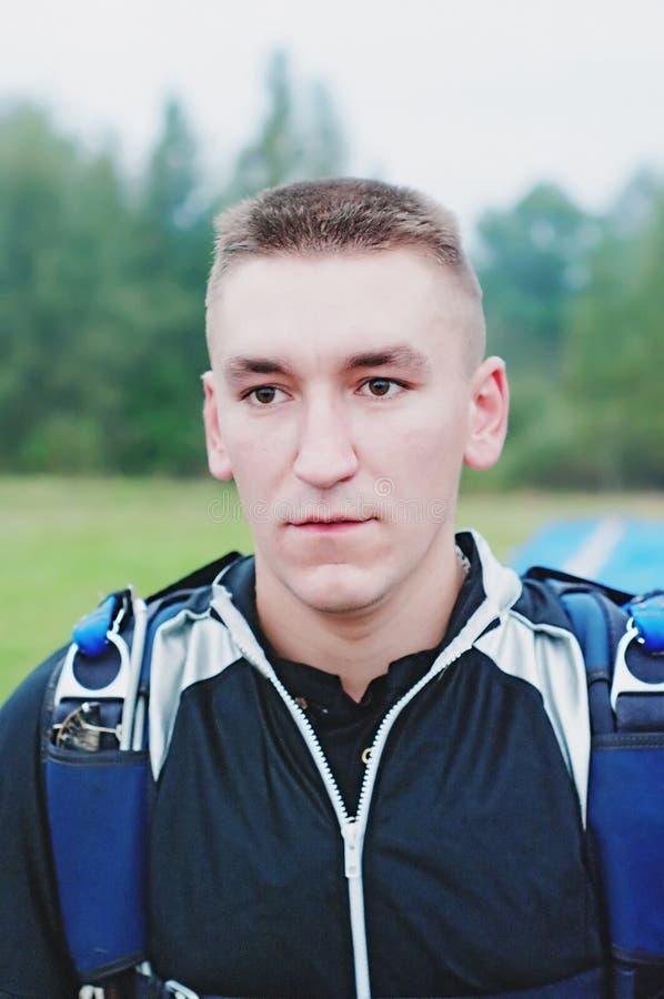 Retrato do parachutist foto de stock