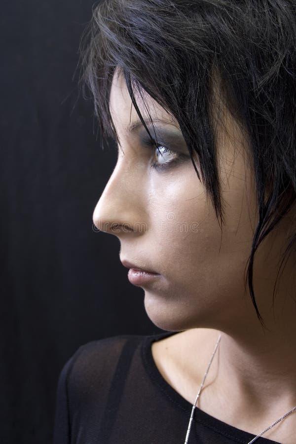 Retrato do perfil da mulher de Goth fotos de stock