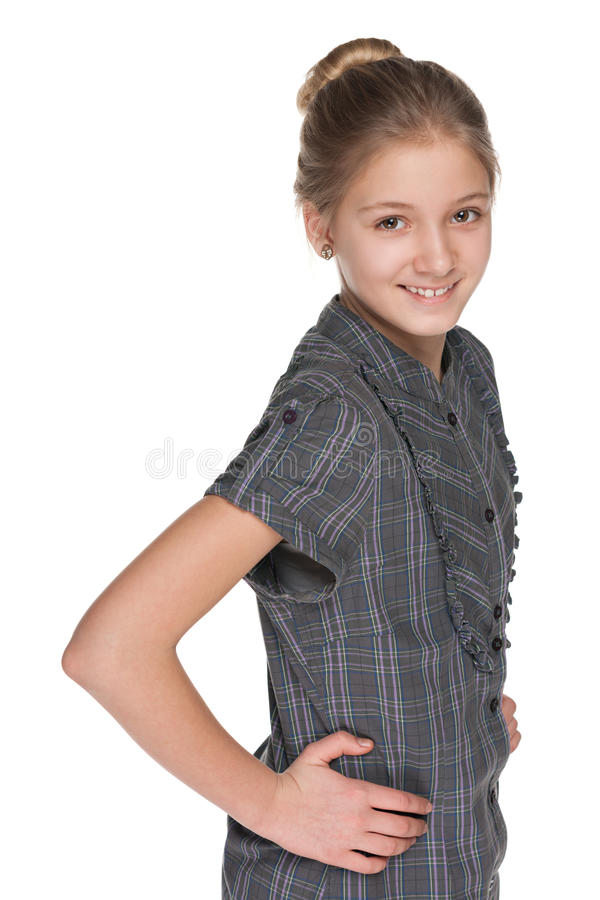 Retrato do perfil de uma menina de sorriso do preteen imagem de stock royalty free