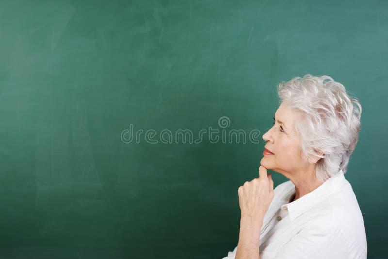 Retrato do perfil de uma mulher superior pensativa fotografia de stock