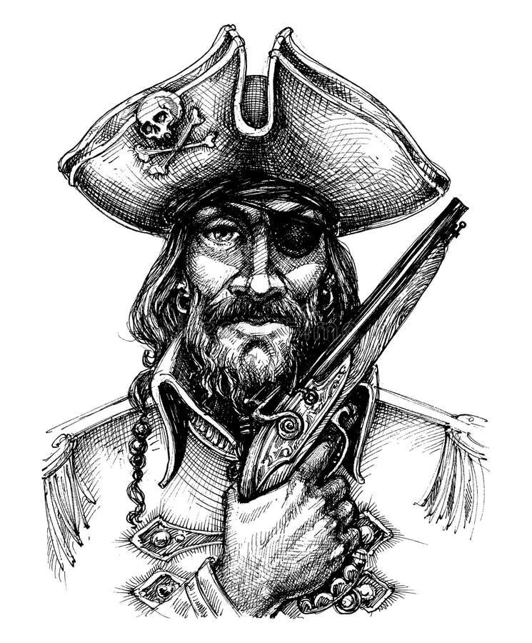 Retrato do pirata ilustração royalty free
