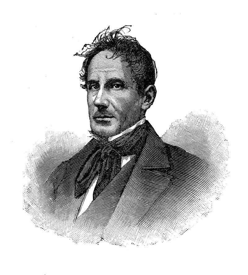 Retrato do poeta de Gioachino Belli Italian ilustração royalty free