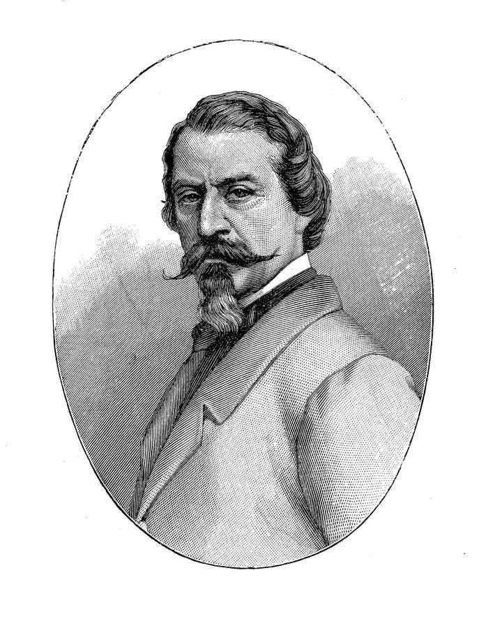 Retrato do poeta neorromântico italiano de Aleardo Aleardi ilustração royalty free