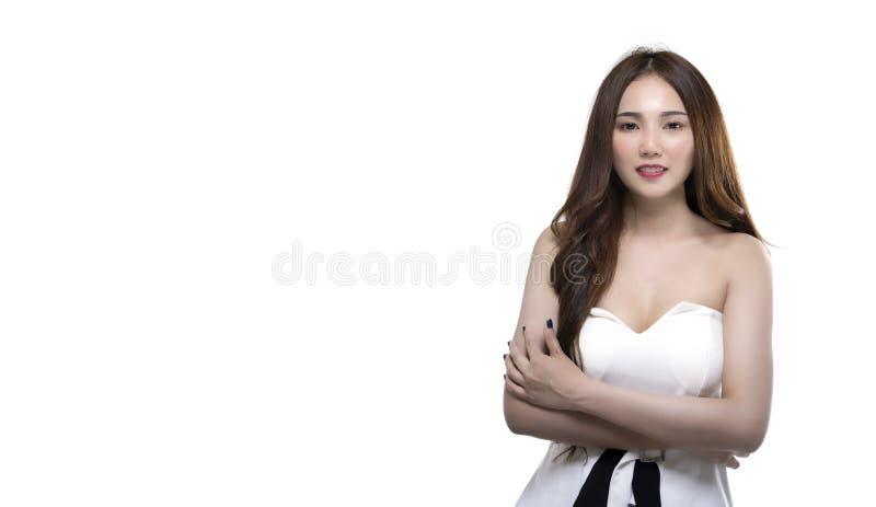 Retrato do positivo bonito da mulher do empresário asiático dos trabalhadores foto de stock royalty free