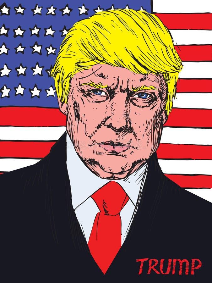 Retrato do presidente de América Donald Trump no fundo da bandeira americana fotos de stock