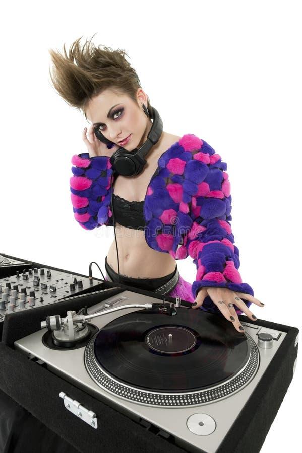 Retrato do punk DJ sobre o fundo branco fotografia de stock