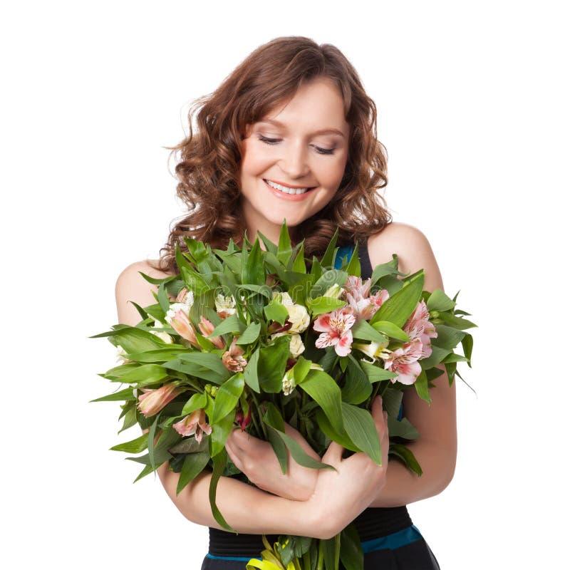 Retrato do ramalhete guardarando triguenho bonito das flores imagens de stock